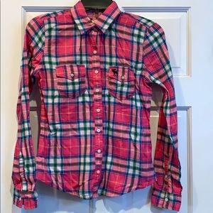 Abercrombie kids pink plaid shirt. Size XL. NWT.